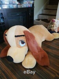 1 HOUR SALEDisney Lady And Tramp Jumbo 48 4 Foot Plush Stuffed Animal Dog Huge
