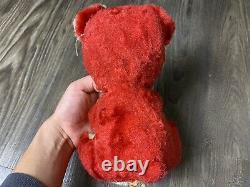10 The Rushton Company Atlanta Ga Teddy Bear Red Plush Doll Rubber Sad Face