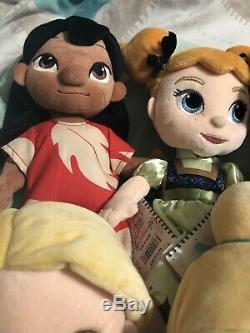 11 Lot Disney Princess Plush Doll Animators Collection Cinderella Jasmine Ariel
