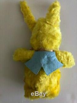 1950s Vintage Rare RUSHTON CO. Plush Yellow Bunny, Vinyl Face in a blue vest