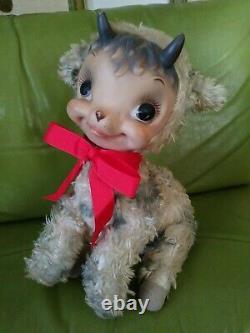 1950s Vintage Rushton Company Rubber Face Goat Lamb baby Plush Stuffed Animal