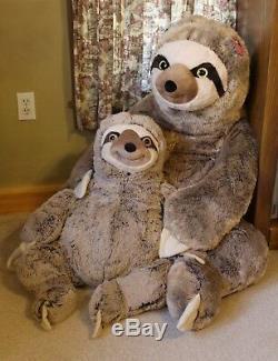 2 JUMBO SLOTH PLUSH 3 & 4 FEET TALL Stuffed Animal HUGE GIANT Birthday Easter +