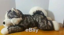 28 Aurora Super Mush Husky Wolf Stuffed Animal Dog X-Large Plush Soft Blue Eyes