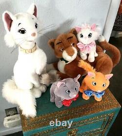 5 Disney Aristocats Thomas Duchess Berlioz Toulouse Marie Kitty Cat Plush Family