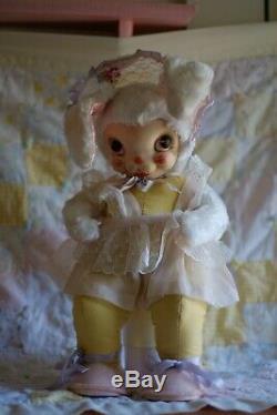 50s 60s Rare RUSHTON Bunny Rabbit 24 Plush Dress Star Creations Rubber Face