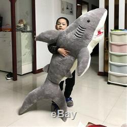78'' Giant Big Shark Gray Plush Soft Toys Doll Stuffed Animals Pillow Kids Gift