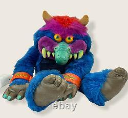 AmToy My Pet Monster 24 Inch Plush Stuffed Animal Toy Blue Fangs 1986 Doll