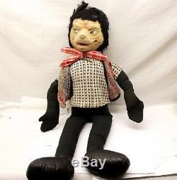 Antique Big Bad Wolf Felt Doll Plush Stuffed Animal Stockinette Wool Vtg 26