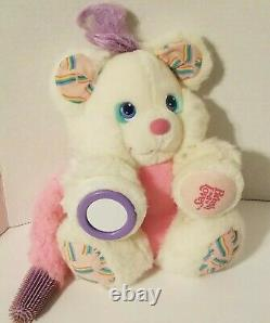 Brush-a-Loves 1987 Bubble Love Bear White Plush Stuffed Amtoy brush on tail 80s
