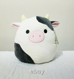Connor the 12 Black White Cow Squishmallow Stuffed Animal Plush