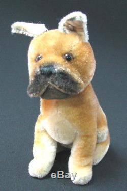 GERMAN VINTAGE EARLY STEIFF SARRAS BOXER DOG BUTTON PLUSH MOHAIR HARD STUFFED x