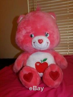 GIANT Care Bears SMART HEART BEAR 28 Plush Stuffed Animal Red Apple. RARE