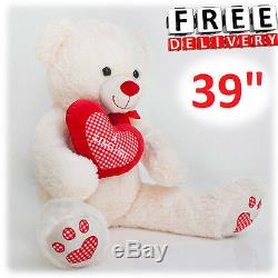 Giant Plush Teddy Bear 39 Stuffed Animal Soft Toy Huge Large Jumbo Valentines