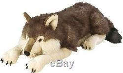 Giant Plush Wolf Soft Body Pillow Large Realistic Stuffed Animal Toy 30 x 10