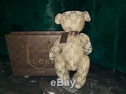 Gucci Teddy Bear Plush Doll Stuffed Animal GG canvas Monogram Lot
