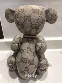 Gucci Teddy Bear Plush Toy Stuffed Animal GG Logo Pattern Monogram Beige