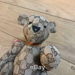 Gucci Teddy Bear Plush Toy Stuffed Animal GG Logo Pattern Monogram Beige F/S