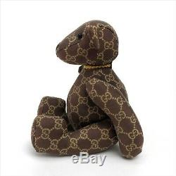 Gucci Teddy Bear Plush Toy Stuffed Animal GG Logo Pattern Monogram Brown USED