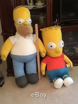 HOMER and Bart SIMPSON Rare 4 Foot Tall Life Size Plush Stuffed Animal Toys