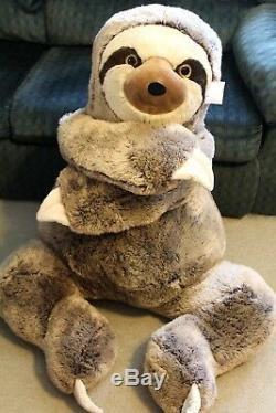 JUMBO SLOTH PLUSH 4 Feet Tall X-Large Stuffed Animal HUGE BIG GIANT XL Buddy NWT