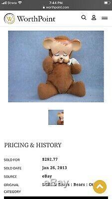 KNICKERBOCKER POUTING BEAR Plush Stuffed Vintage Antique Vinyl Face