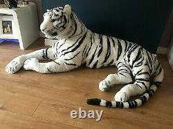 Large Life size Tiger Giant Lying Soft Toy Plush 245 cm Realistic White Cat