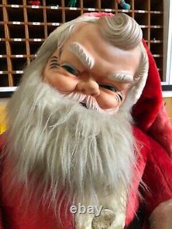 Large Vintage Rubber Face Santa Father Christmas Doll Plush Rushton