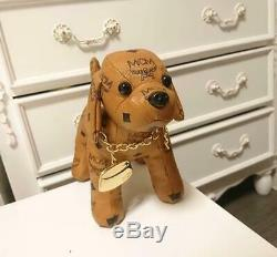 MCM Dog Leather Plush Doll Stuffed Toy WithCollar Charm Excellent