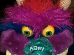 My Pet Monster Vtg Original Blue 1980's Plush Doll AmToy Handcuffs RARE