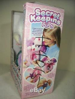 NEW 1994 KENNER SECRET KEEPINS SWEETHEART PUPS PLUSH PURPLE DOG WithBOX NO KEY