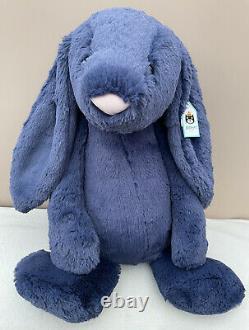 NEW Jellycat Huge Bashful Navy Blue Bunny Rabbit Soft Toy Comforter Baby BNWT