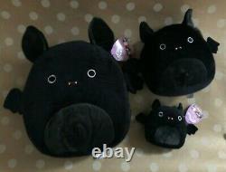 New SQUISHMALLOW Halloween Black Bat EMILY 12 + 8 + 5 Plush RARE Washable