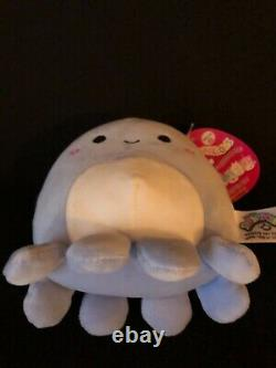 New SQUISHMALLOW Octopus VIOLET 2021 Valentine Heart Cheeks 5 Mini Plush RARE