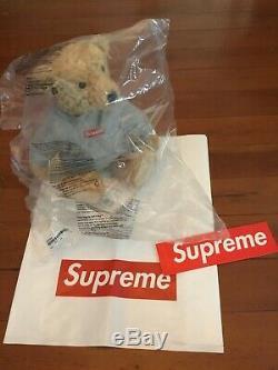 New Supreme x Steiff Teddy Bear Box Logo Hoodie Stuffed Animal Plush Toy Gray