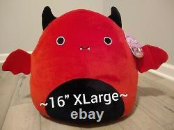 New XL 16 Squishmallow Halloween Dante Red Devil Bat Collectible Soft Plush