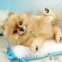 OOAK Pomeranian Dog Lifesize Puppy Teddy Bear Art Plush Stuffed Animal Poseable