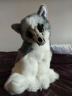 OOAK wolf plush toy, Art Doll, Real Skull