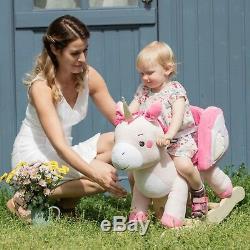 Pink Unicorn Rocking Horse Child Toys Kids Ride On Plush Stuffed Animal Rocker++