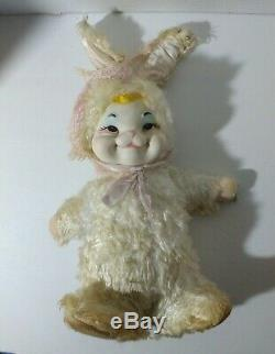 RARE Rushton Star Creation Rubber Face Bunny Rabbit 13 Plush Stuffed 1950s