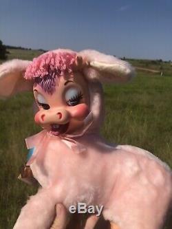 RUSHTON Rubber Face Pink Cow VERY RARE, HTF, Beautiful Plush Stuffed Animal