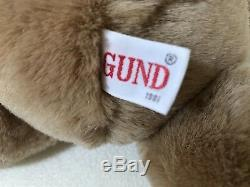 Rare 14 Vintage 1981 GUND Plush Tan Honey Brown Stuffed Teddy Bear RARE Unused