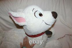 Rare 30 Bolt Disney Lying Plush Dog Stuffed Animal Toy White Puppy Movie Huge