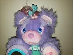 Rare Vintage Purple Posey 1987 AMTOY Brush-A-Loves Plush Bear Brush Tail Mirror