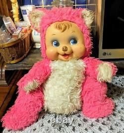Rare Vintage Rushton Co Plush Pink/White Stuffed Bear Rubber Face