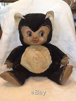 Rushton Chubby Tubby Panda Bear with Rubber Face and Paws 1950's Stuffed Plush