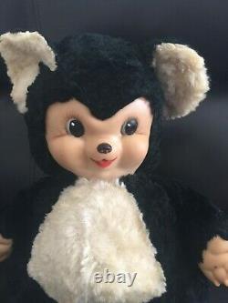 Rushton Rubber Face Chubby Tubby Bear 1950s Plush Stuffed Animal Panda Toy 16 in
