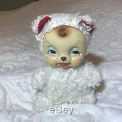 Rushton Rubber Face Valentine Crybaby Bear Mouse Vintage Midcentury Plush Toy