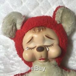 Rushton Rubber Face Valentine Crybaby Bear Vintage Midcentury Plush Toy