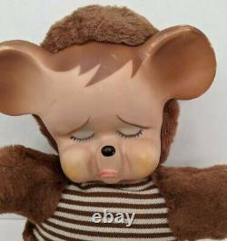 Sad Pouting TEDDY BEAR Knickerbocker Vintage Plush Stuffed Animal with Rubber Face