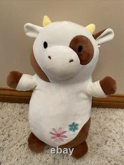 Squishmallow Hug Mees Rare Drella Brown White Cow Plush Stuffed Animal 14 2019